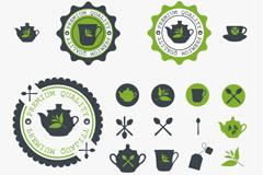 绿色茶杯标签矢量素材
