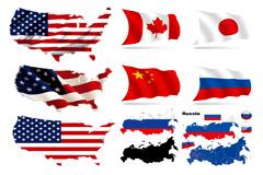 多国立体国旗