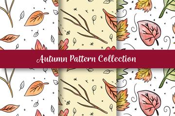 3款彩绘秋季落叶无缝背景矢量图
