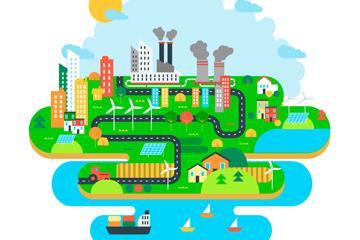 彩色生态系统和环境污染矢量图