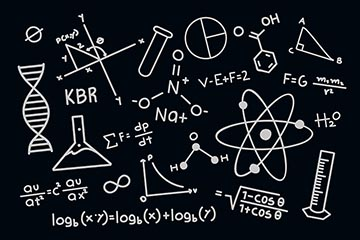 手绘科学公式上黑板壁纸免费矢量